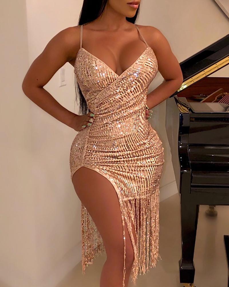 Tassels Hem Spaghetti Strap Sequins Party Dress фото