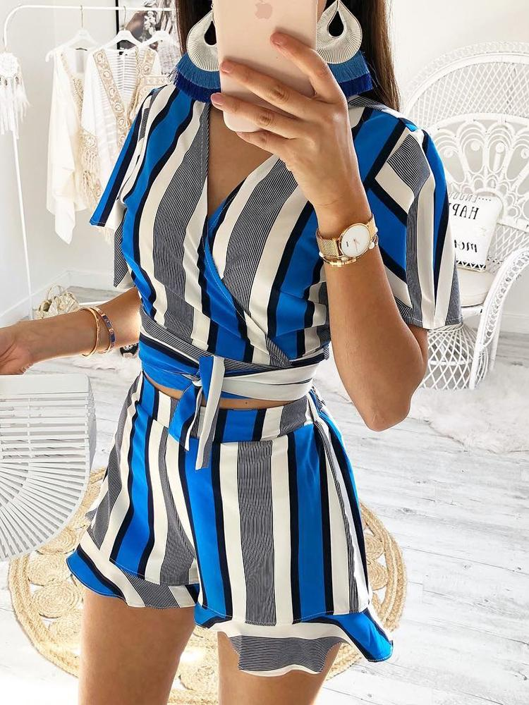 Striped Tie Waist Wrap Top With Shorts Sets