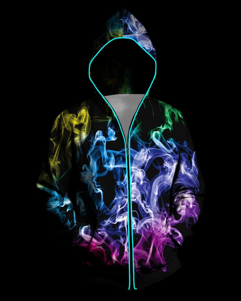 3D Light Up Hooded Colorblock Smoky Print Zipper Battery Powered Jacket фото