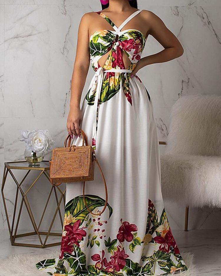 Floral Print Open Back Maxi Dress