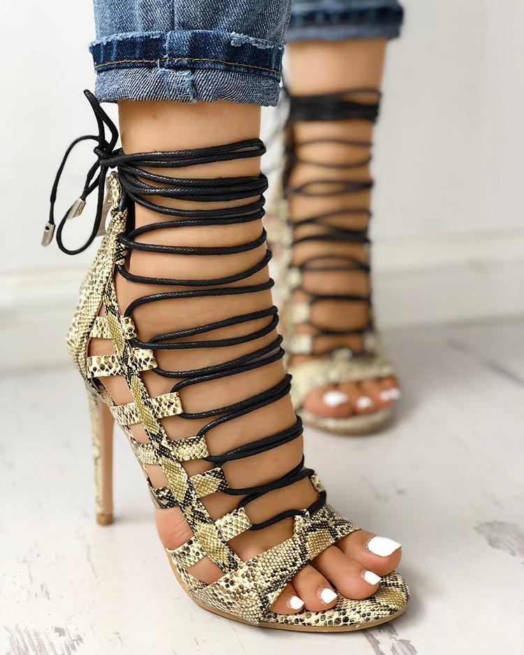 Open Toed Lace-Up Thin Heeled Sandals