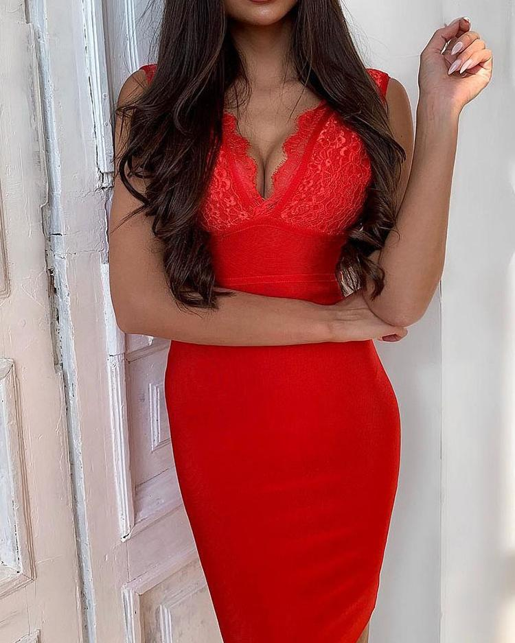 Sleeveless Lace Bodice Insert Bodycon Dress