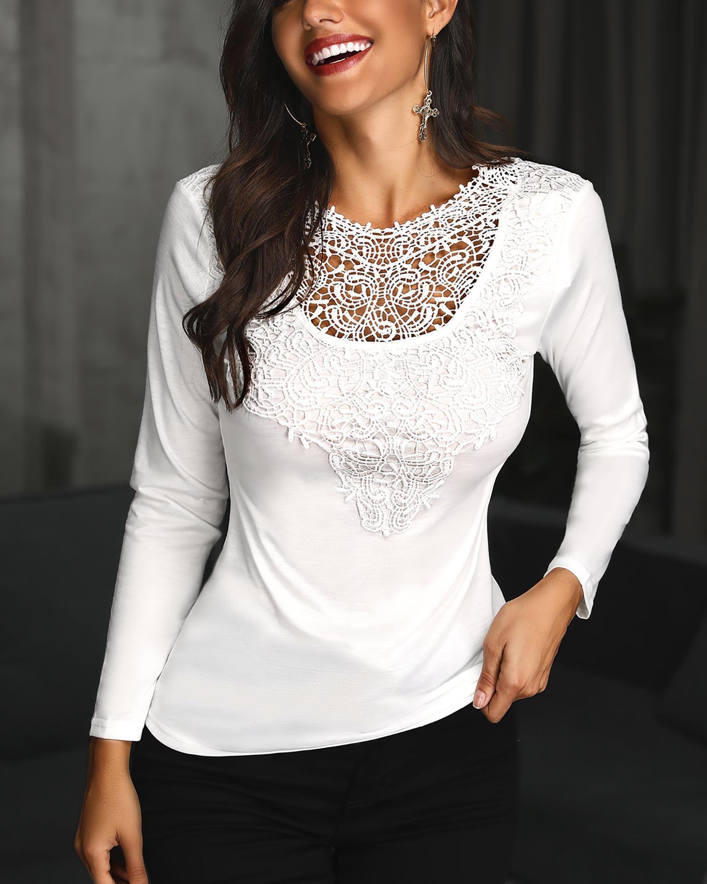 Lace Applique Slim Fit Shirt Blouse фото