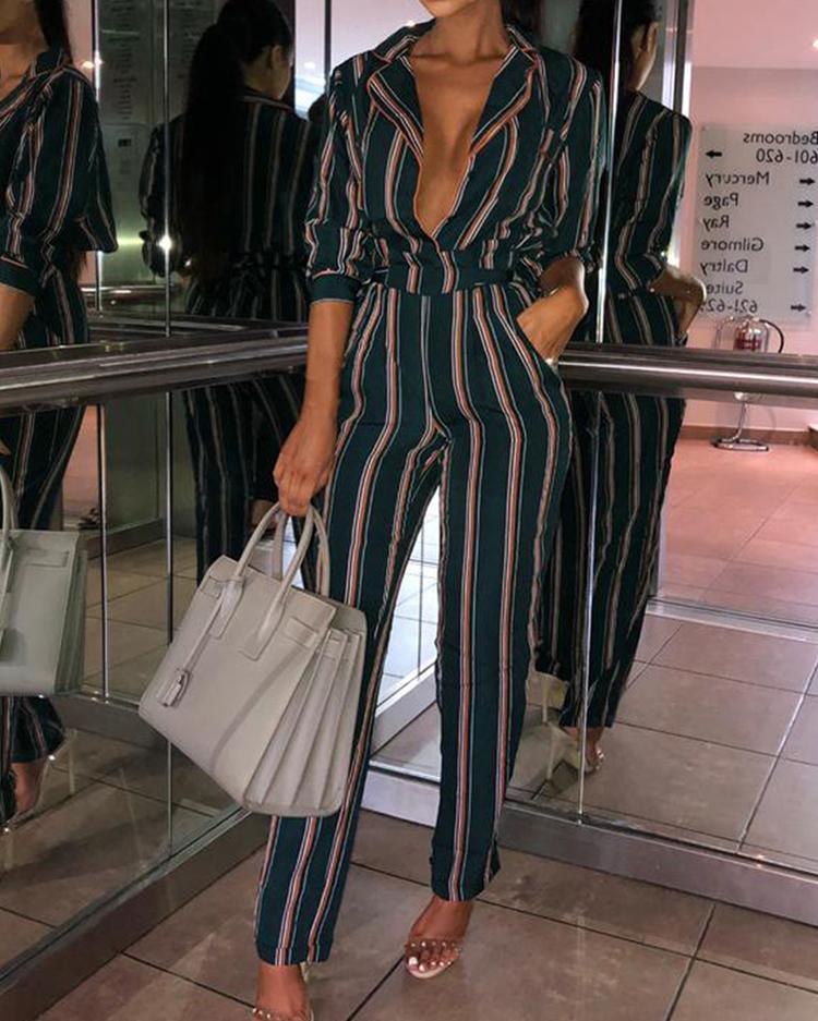 Contrast Stripes Plunge Pocket Tie Waist Jumpsuit