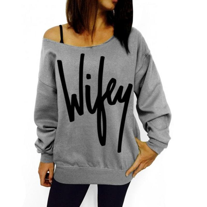 Women's New Fashion Hot Sale Sexy Long Sleeve Letters Print One Shoulder T-shirt Sweatshirt Top