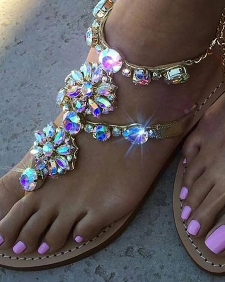 ivrose / Shiny Embellished Toe Post Flat Sandals
