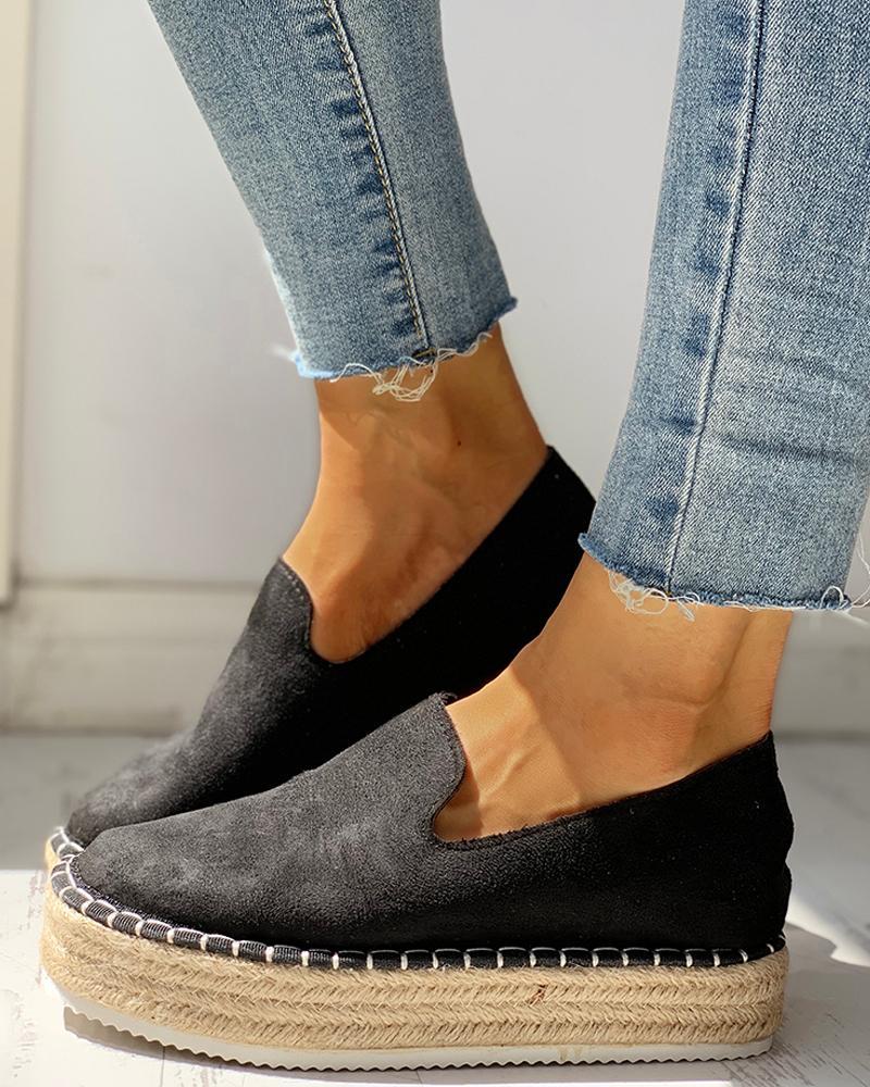 Solid Platform Design Casual Sneakers