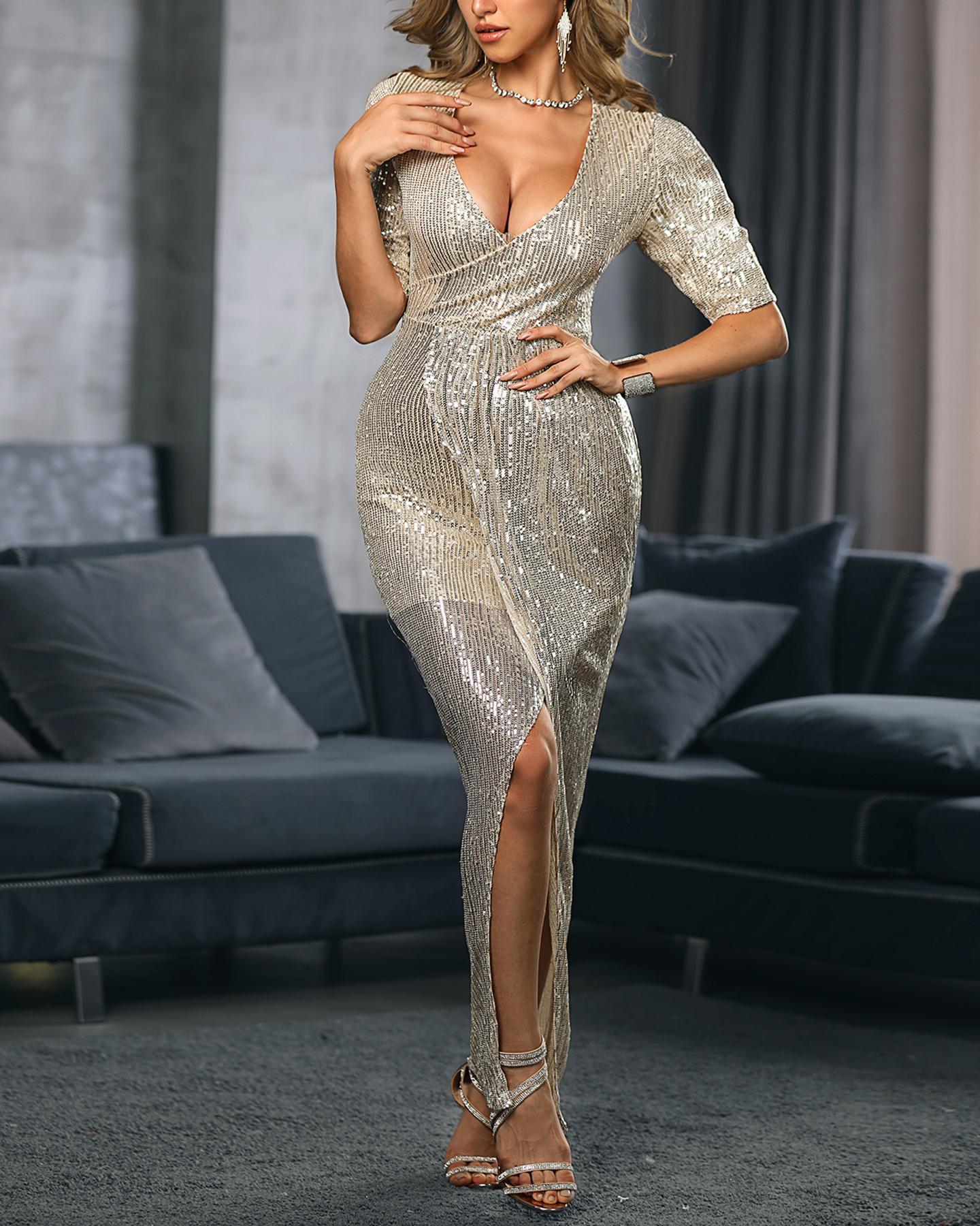 Sequins Half Sleeve Maxi Slit Dress, Champagne