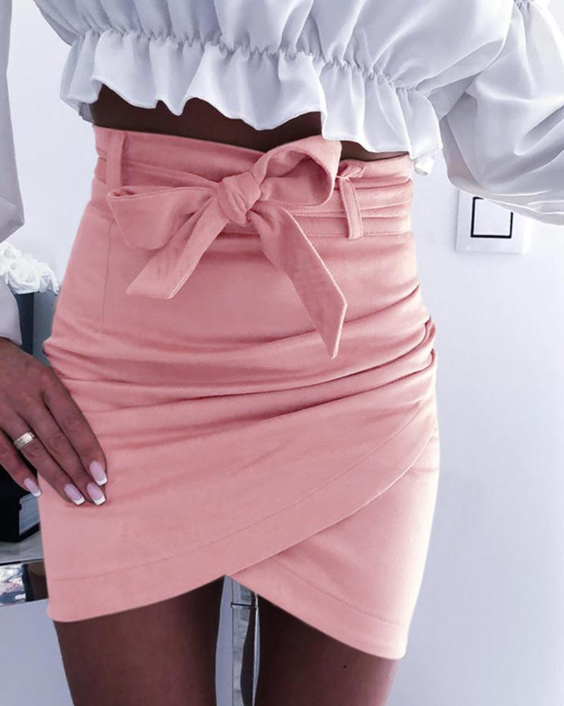 High Waist Ruched Mini Skirt фото