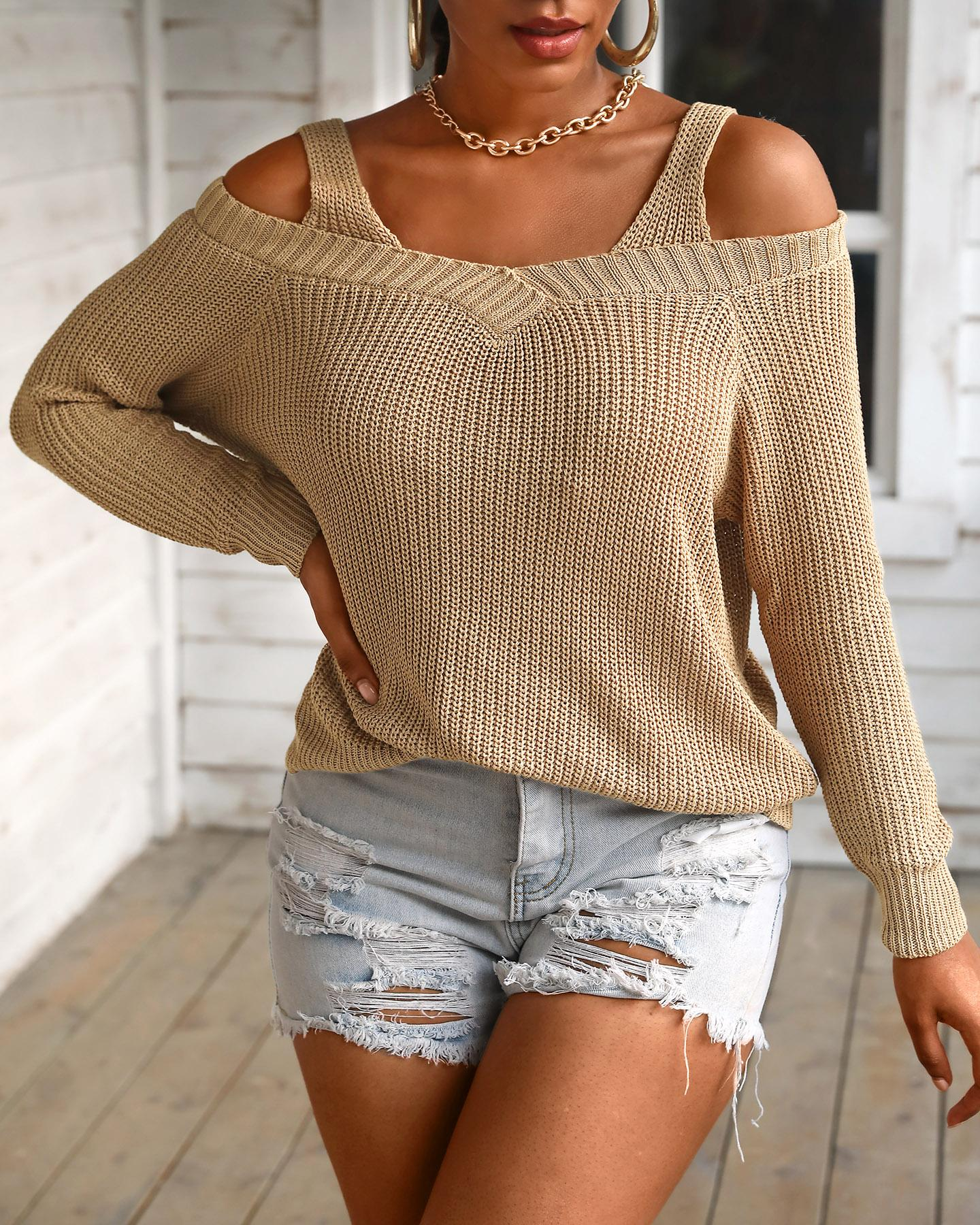 Solid Long Sleeve Cut-out Sweater фото