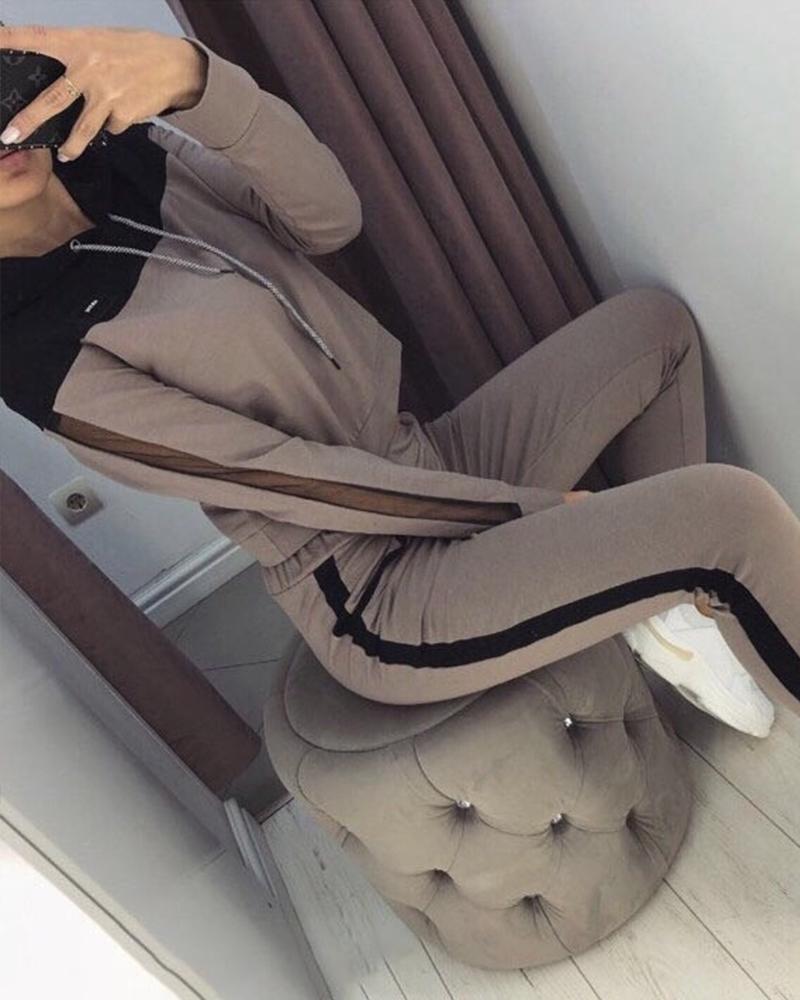 Color Block Long Sleeve Suit Sets фото