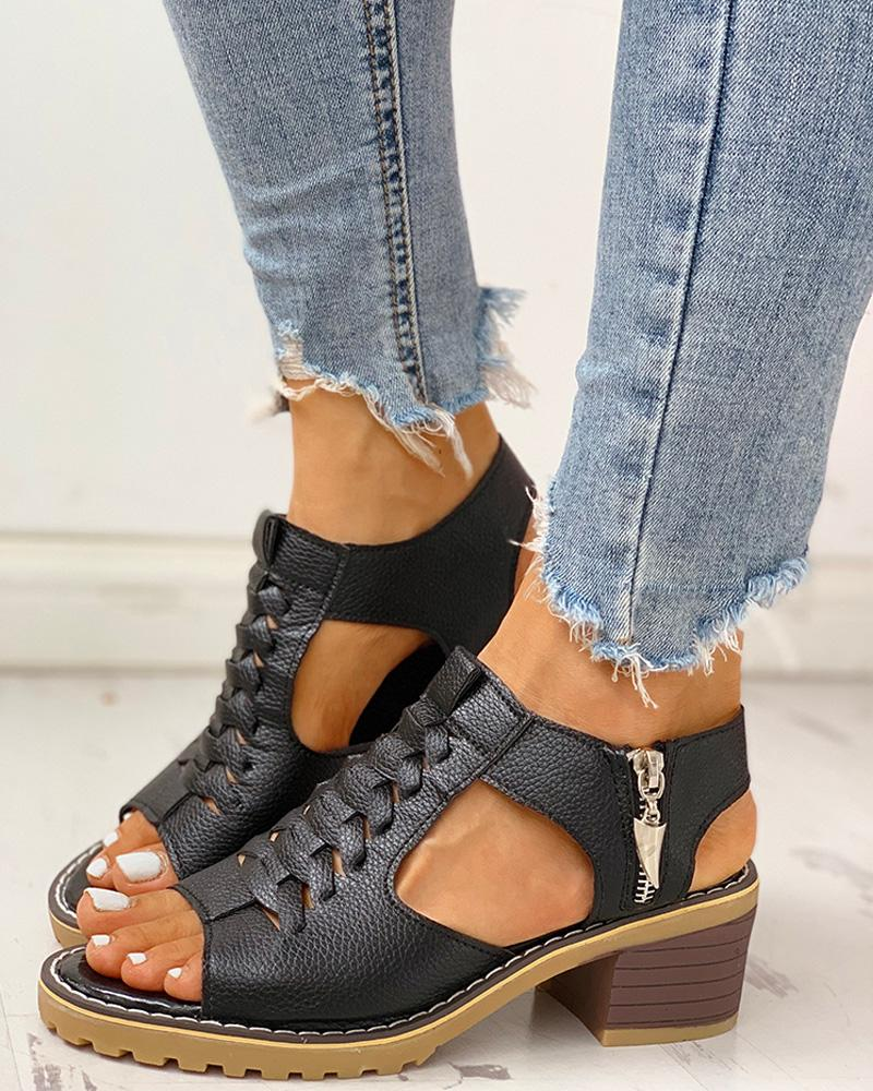 boutiquefeel / Peep toe sandalias de tacón grueso con cremallera