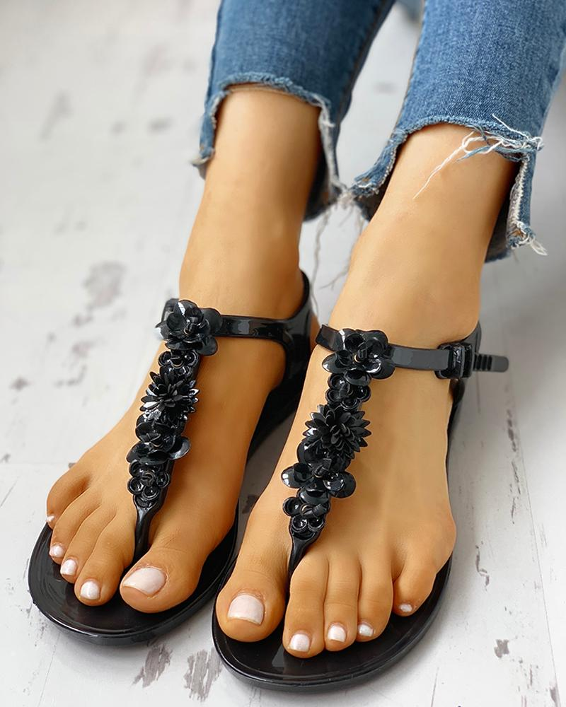 ivrose / Toe Post Flower Design Flat Sandals