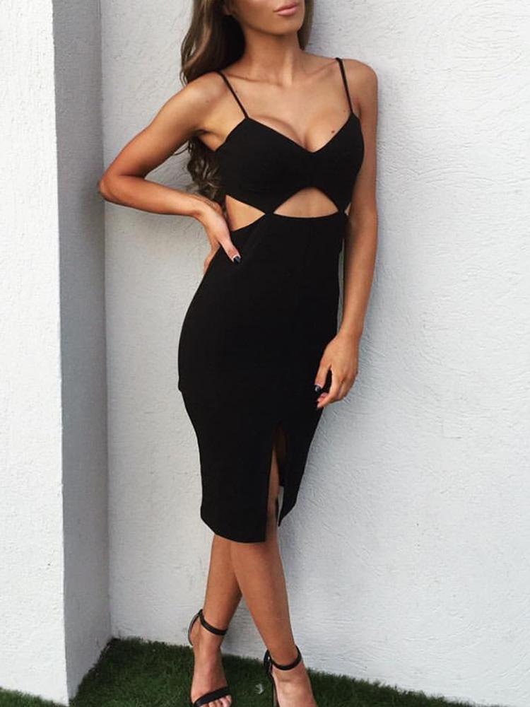 Spaghetti Strap Cut Out Slit Front Dress