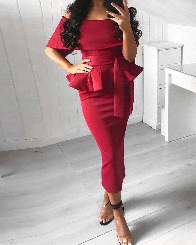 Frilled Short Sleeve Midi Dress