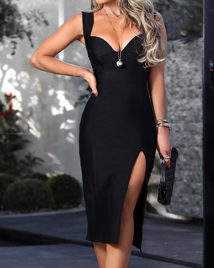 Solid Thick Strap Thigh Slit Dress