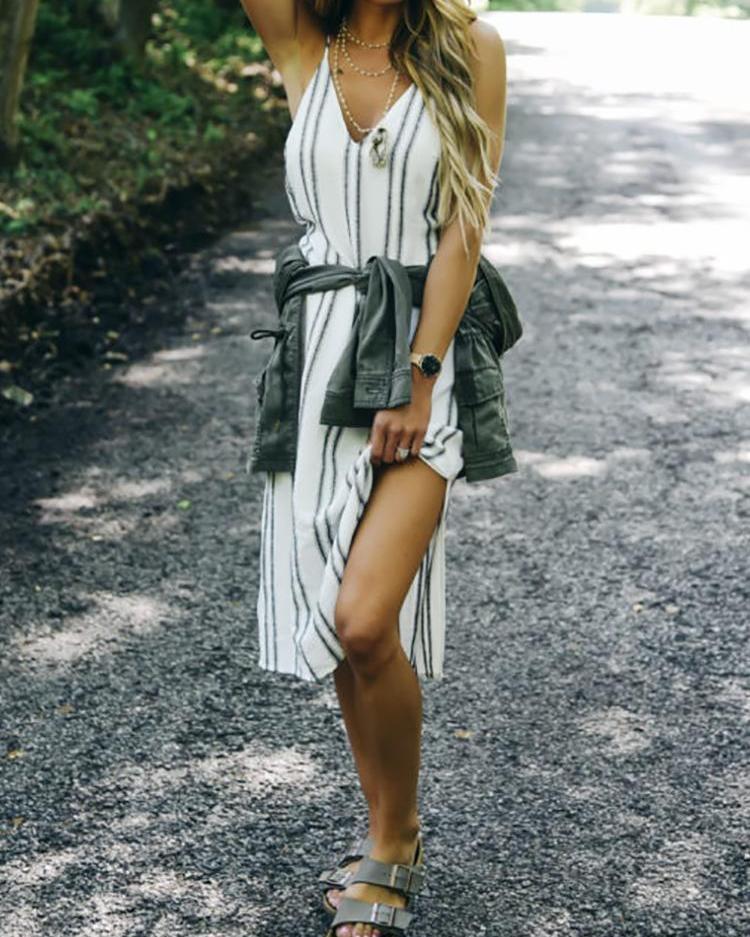 Deep V Striped Print Slit Side Casual Dress