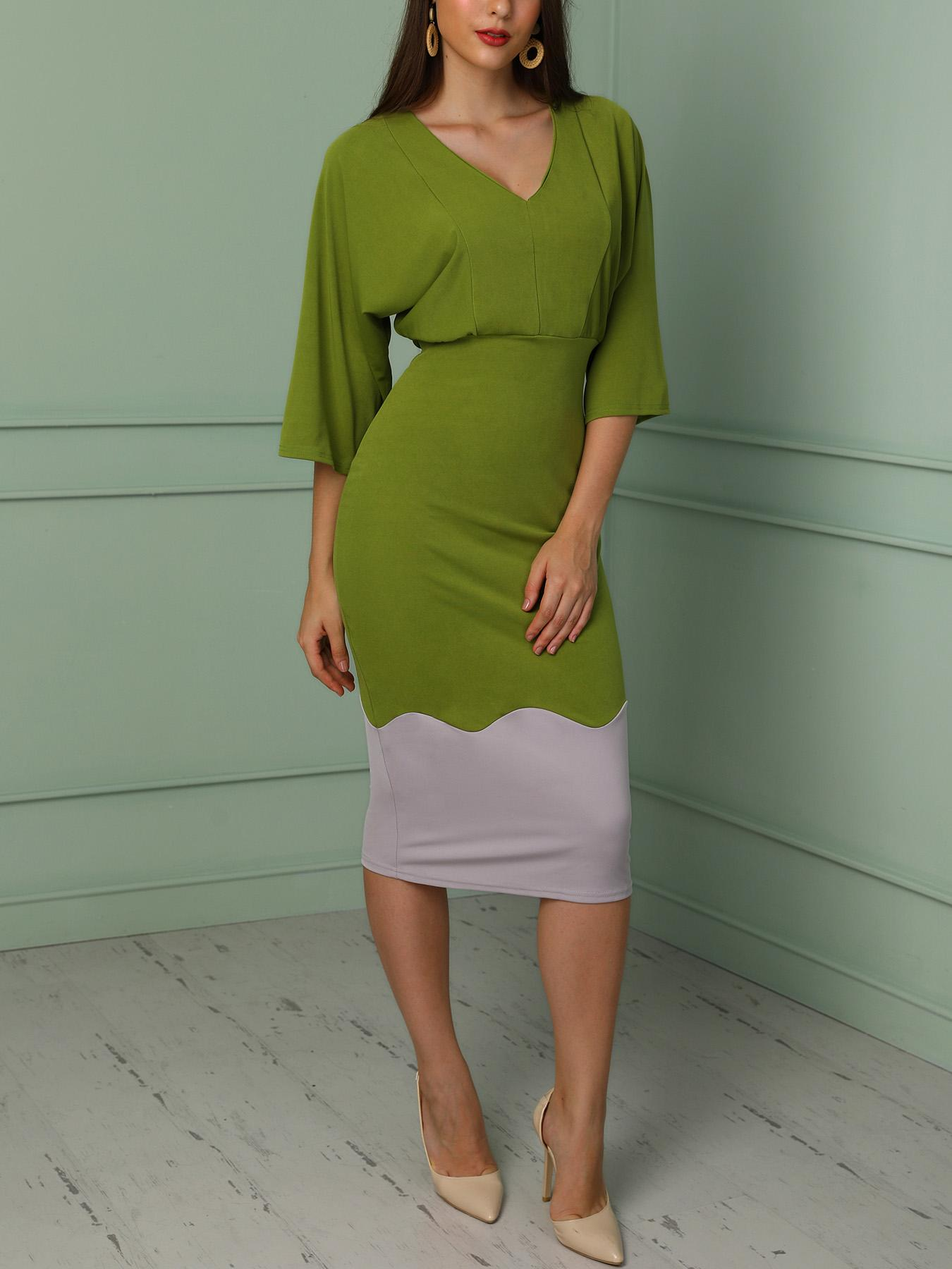 Contrast Color Batwing Sleeve Bodycon Dress