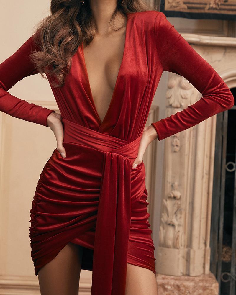 ivrose / Solid Plunge Ruched Drape Irregular Dress