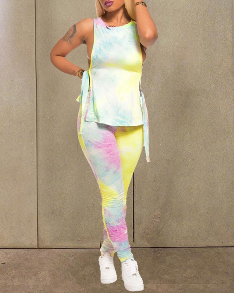 Tie Dye Print Side Slit Top & Pant Set фото