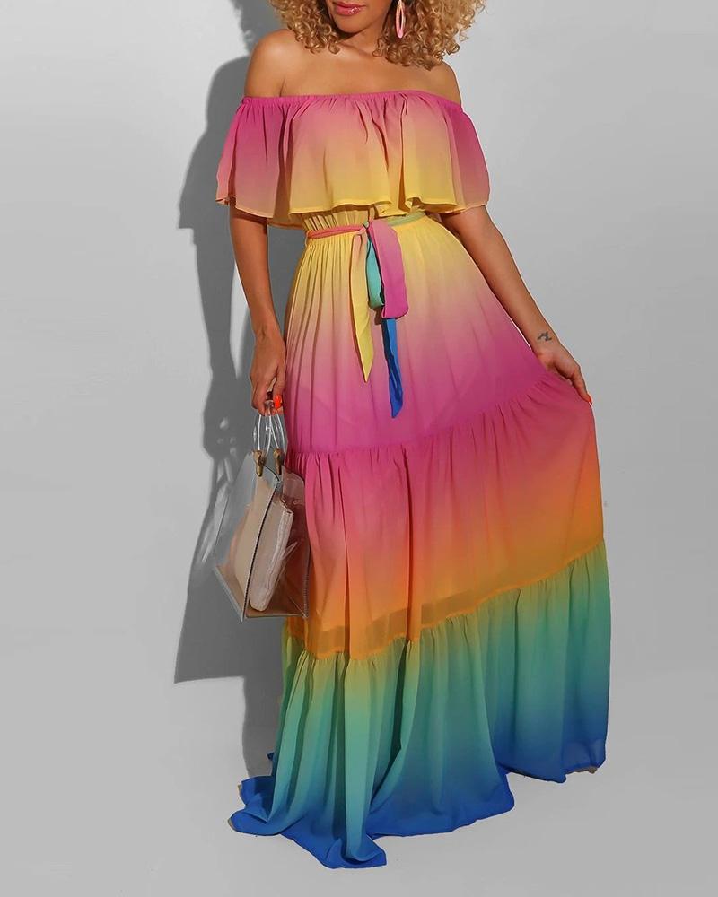 ivrose / Off Shoulder Gradient Color Tie Dye Print Ruffles Maxi Dress
