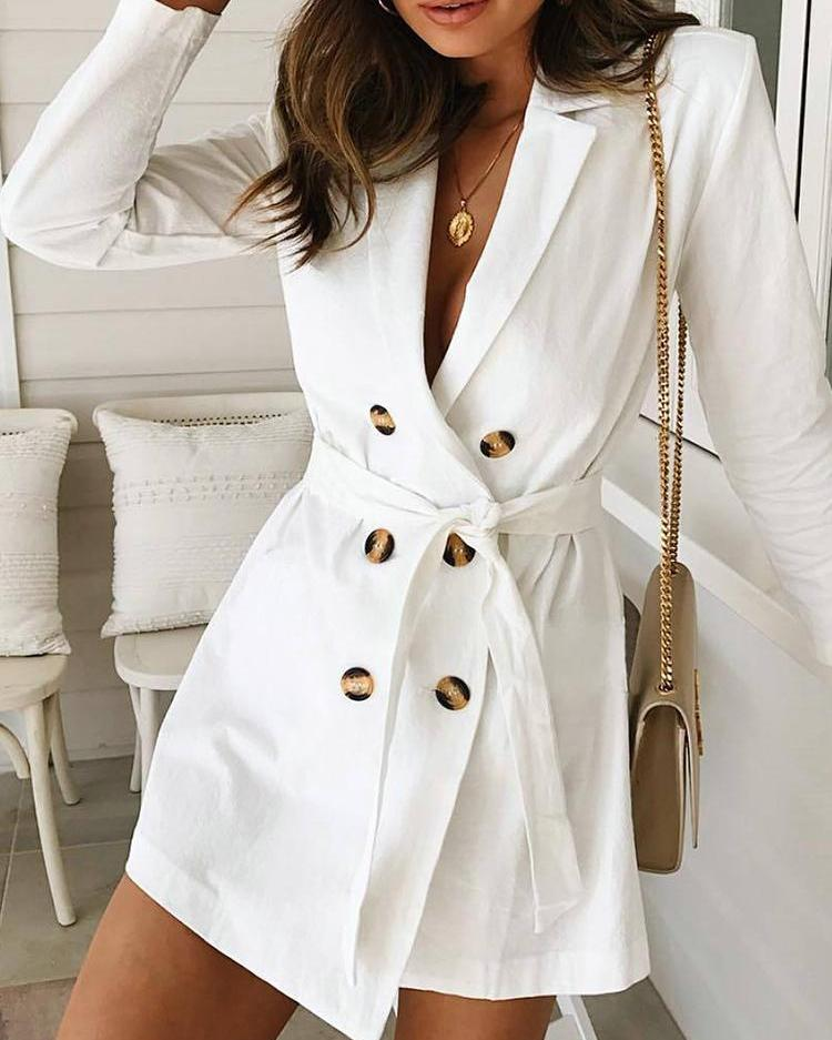 Solid Double Breasted Belted Blazer Dress фото