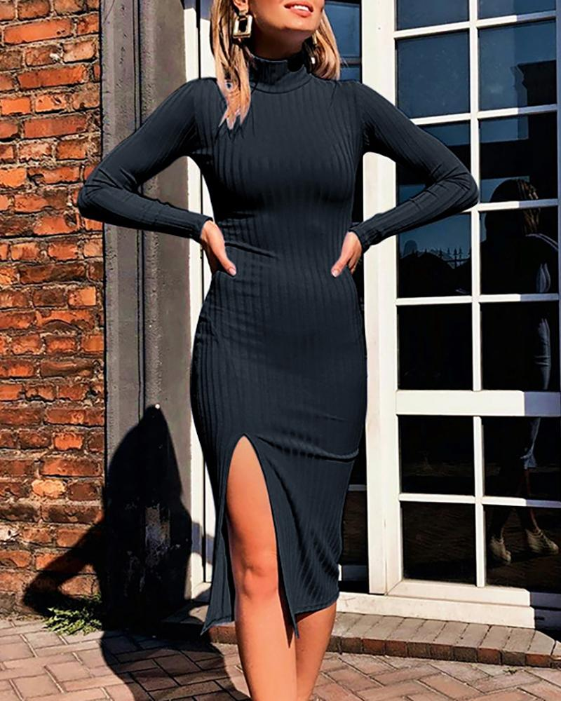 Solid Long Sleeve Slit Bodycon Dress фото