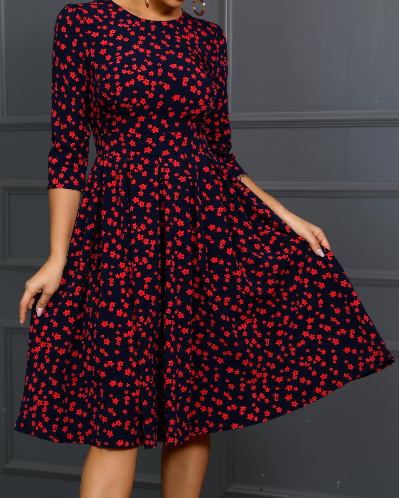 Round Neck Floral Print Midi Dress