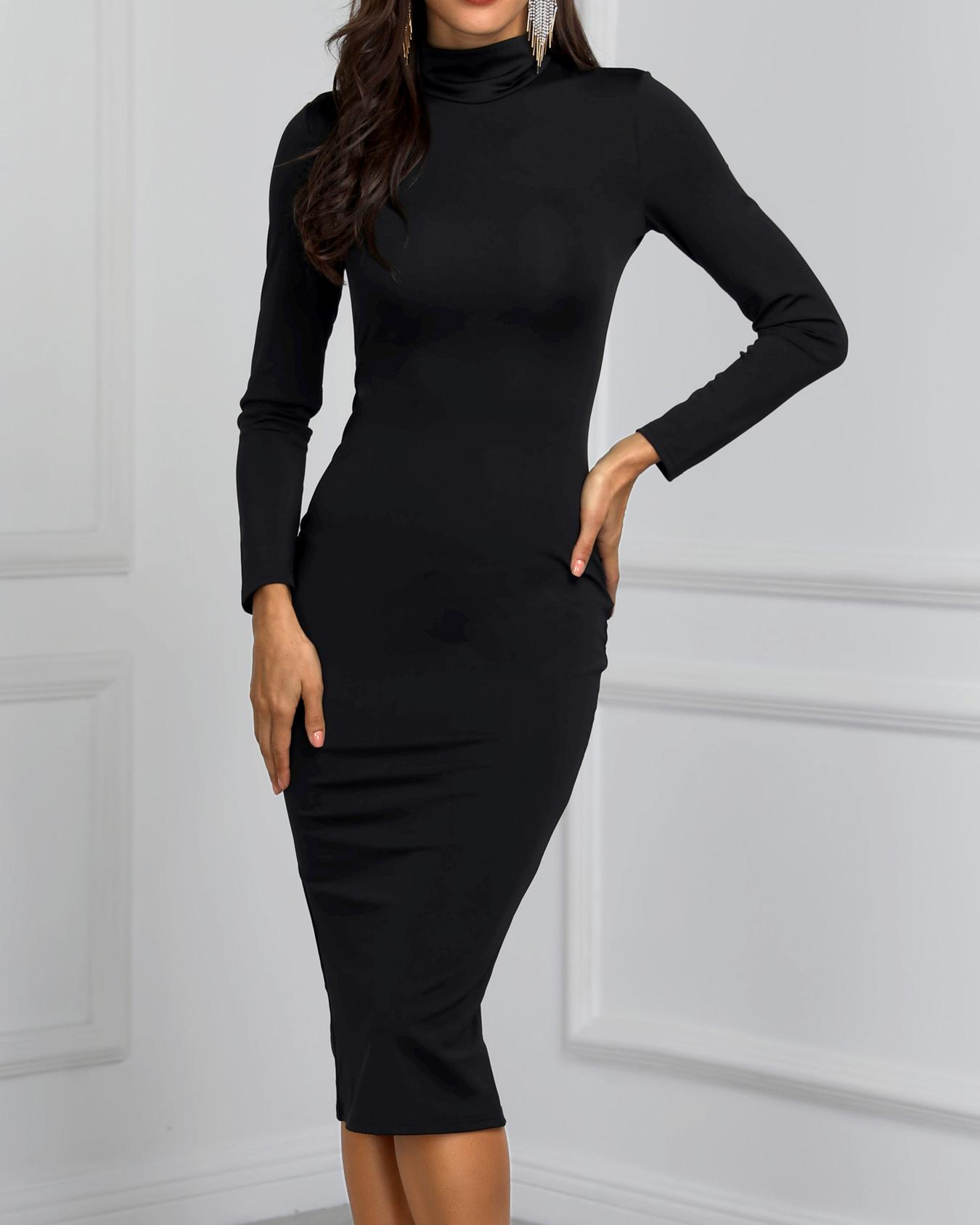 High Neck Long Sleeve Slinky Dress
