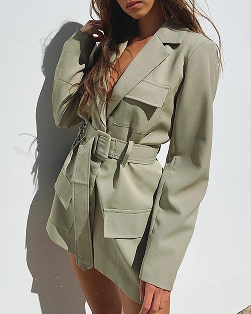 ivrose / Plain Pocket Design Long Sleeve Blazer Coat