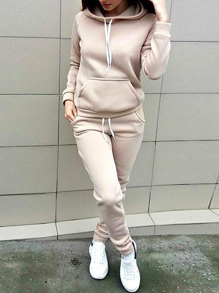 Long Sleeve Hoodie & Drawstring Pants Sets