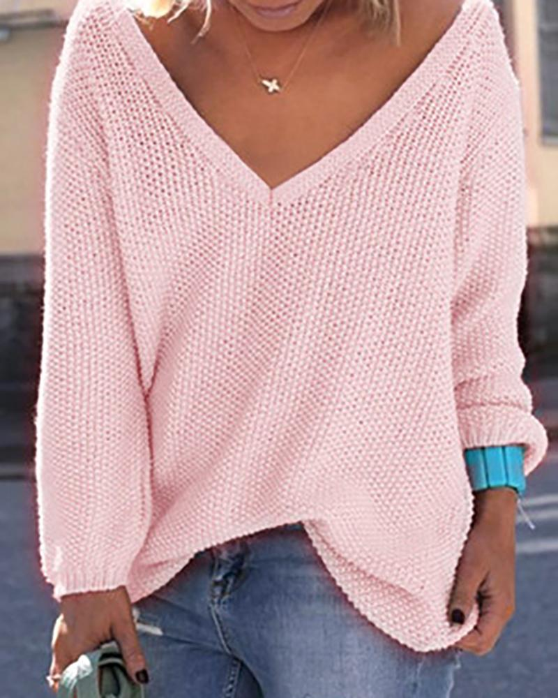 Solid V Neck Long Sleeve Loose Pointelle Sweater фото