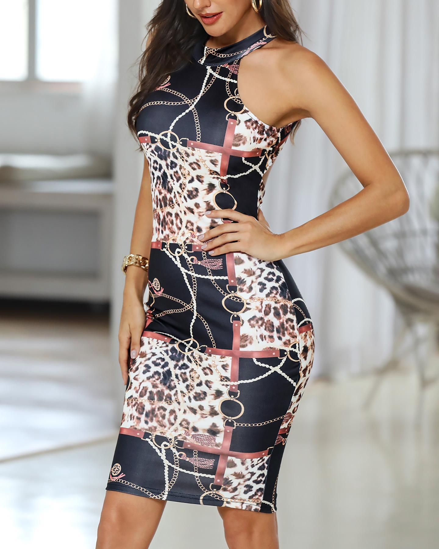 Chain Leopard Print Backless Bodycon Dress фото