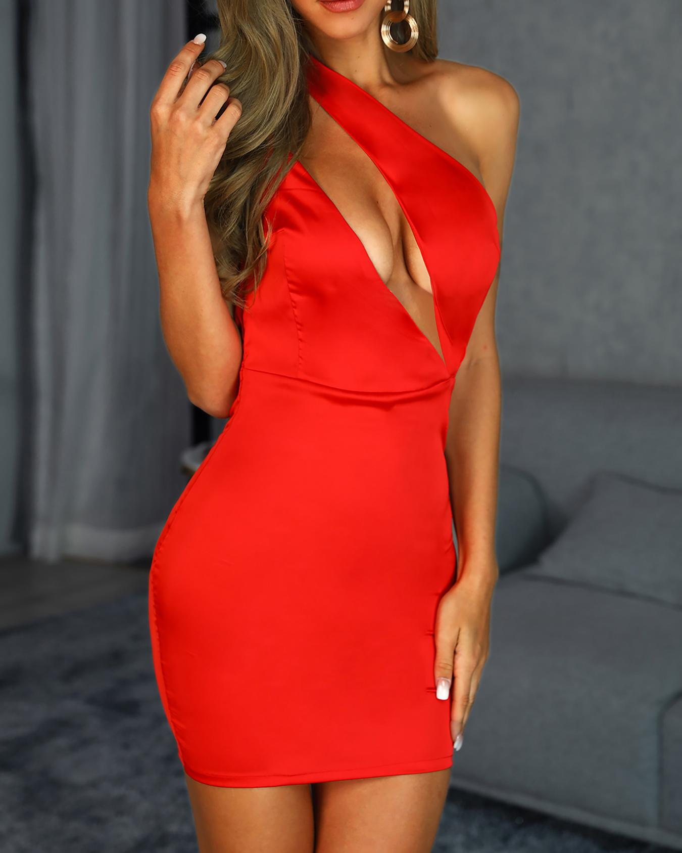 Cut Out One Shoulder Backless Bodycon Dress