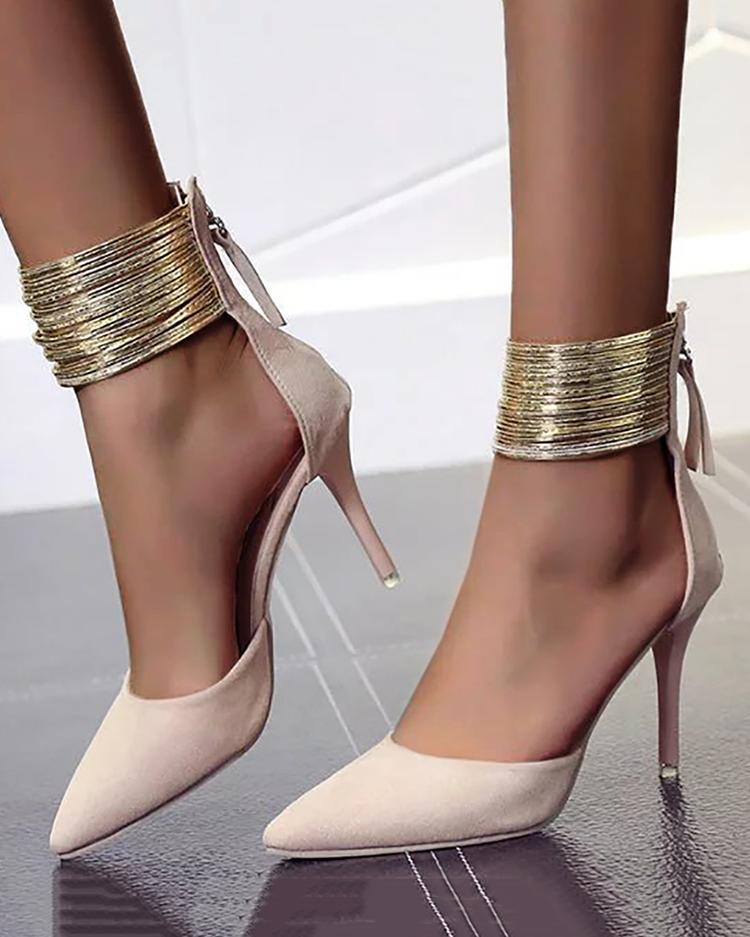 Office Look Pointed Toe High Heels - Nude