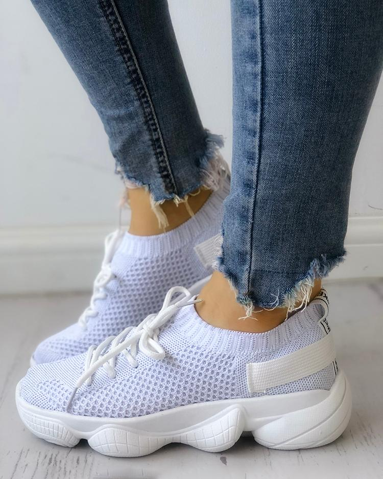 Solid Breathable Lace-Up Athletic Sneakers