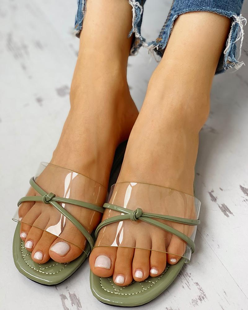 Transparent Bowknot Design Flat Sandals фото