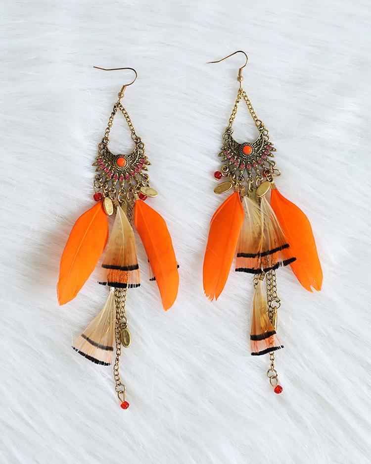 Feather Long Tassel Bohemian Jewelry Earrings