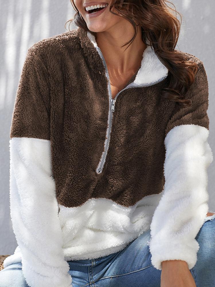 Drop Shoulder Quarter Zip Teddy Sweatshirt