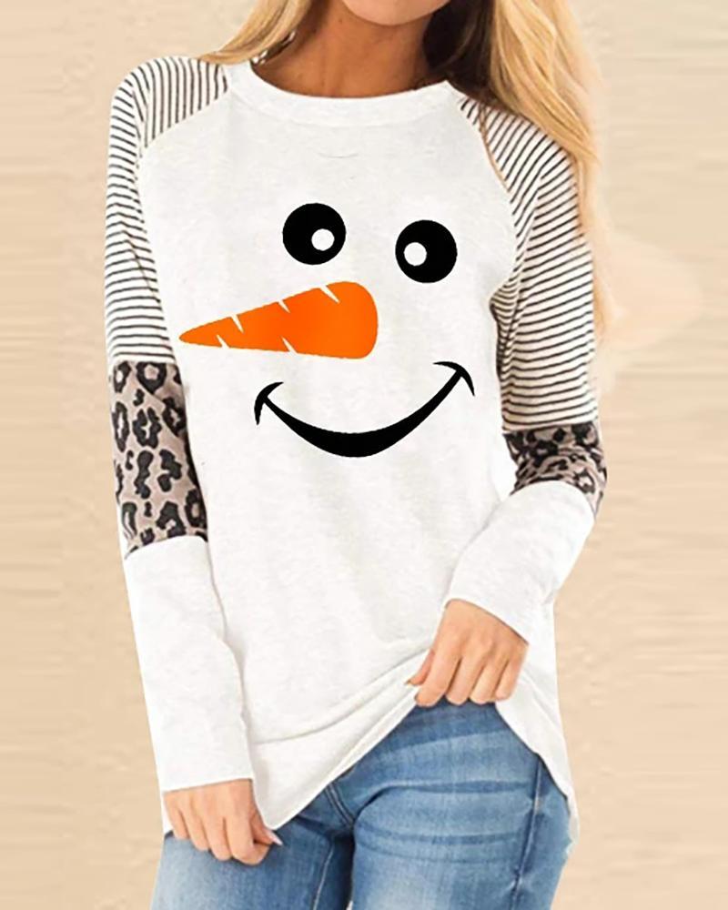 boutiquefeel / Sudadera casual con estampado de guepardo y muñeco de nieve navideño