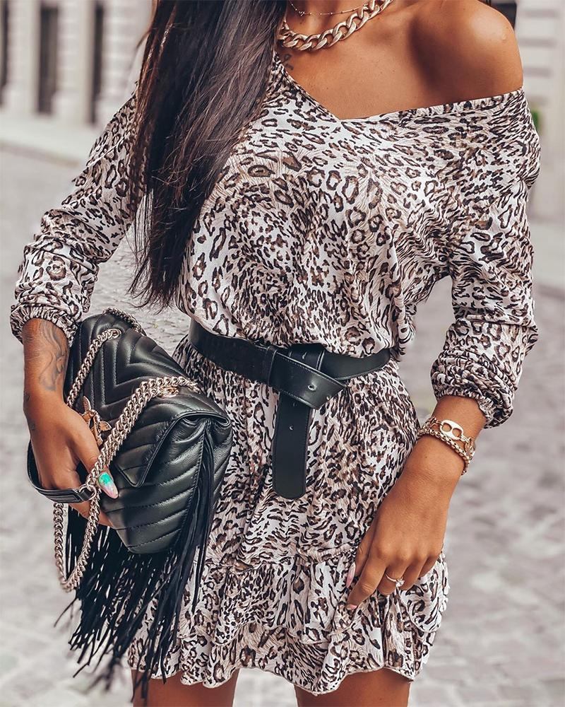 chicme / Fashionable Leopard Print Waist Dress