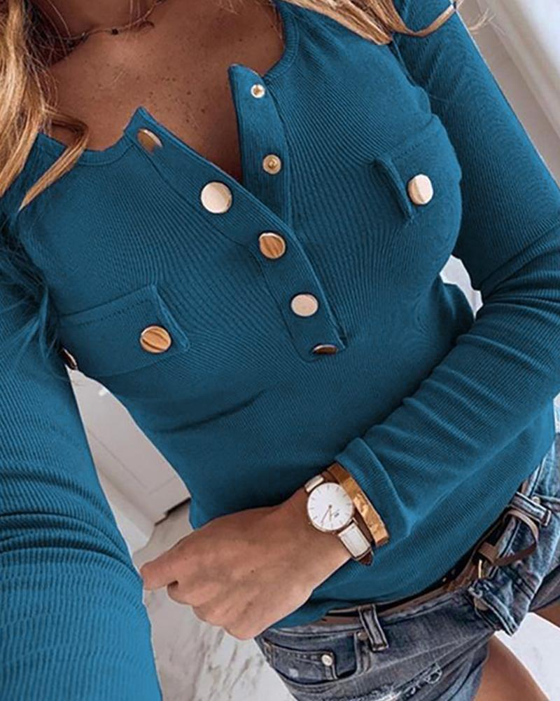 Buttoned Ribbed Long Sleeve Blouse фото