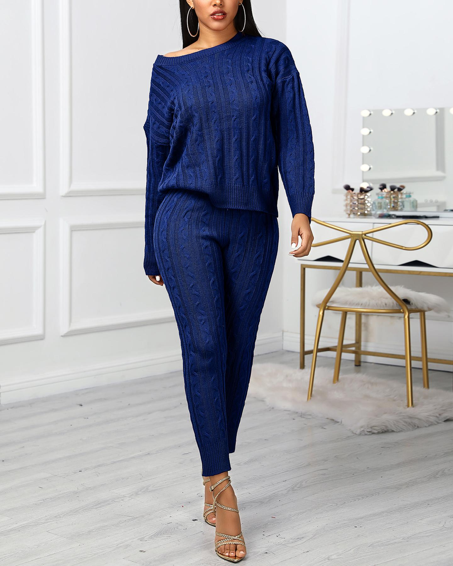 Solid Ribbed Knitting Casual Sweater & Pants Sets фото