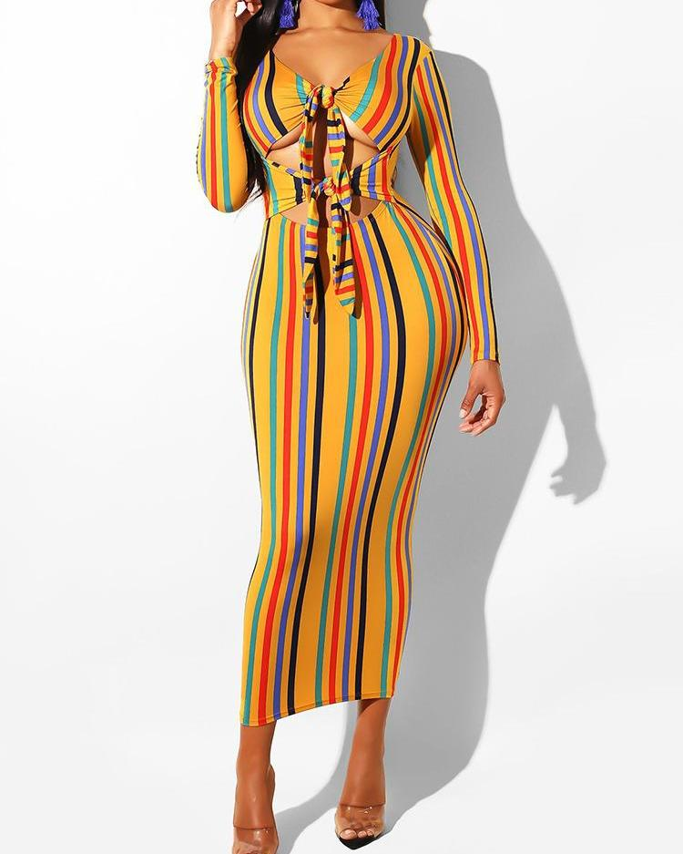 Vertical Striped Cutout Knotted Front Dress