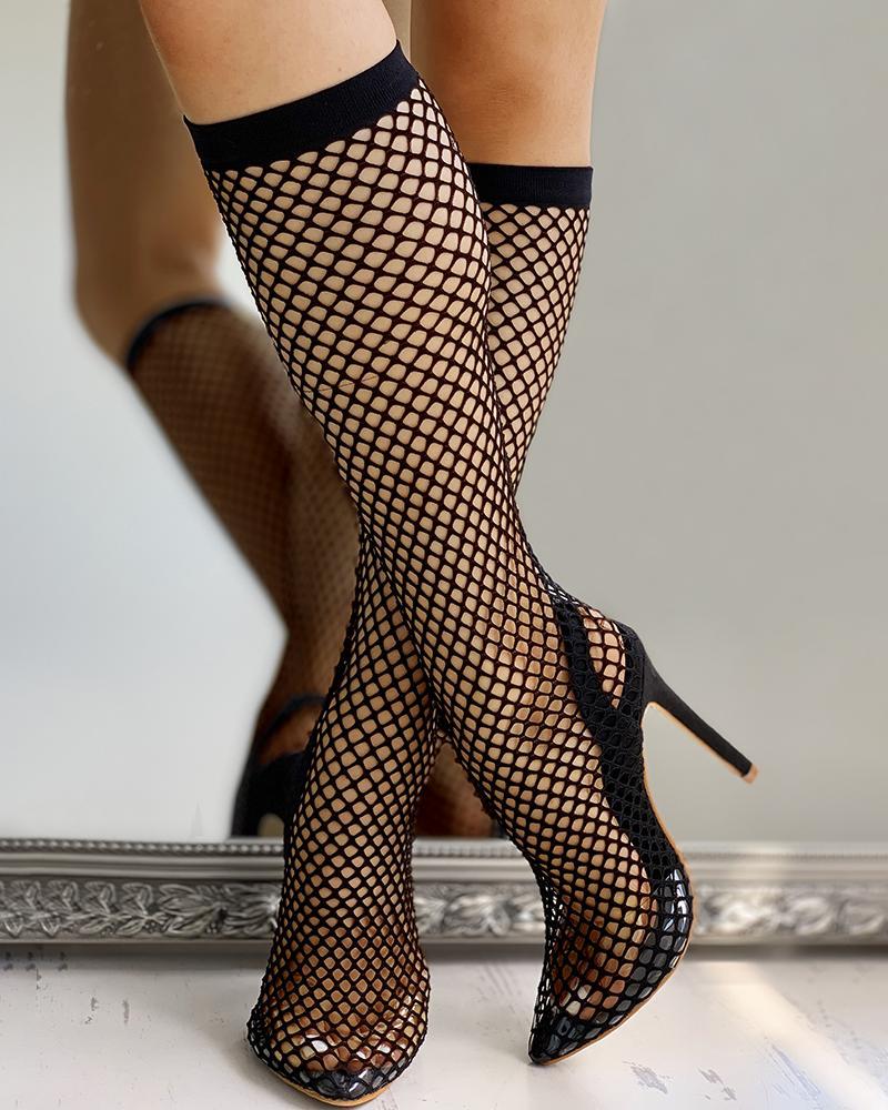 Solid Stocking Design Thin Heels, Black