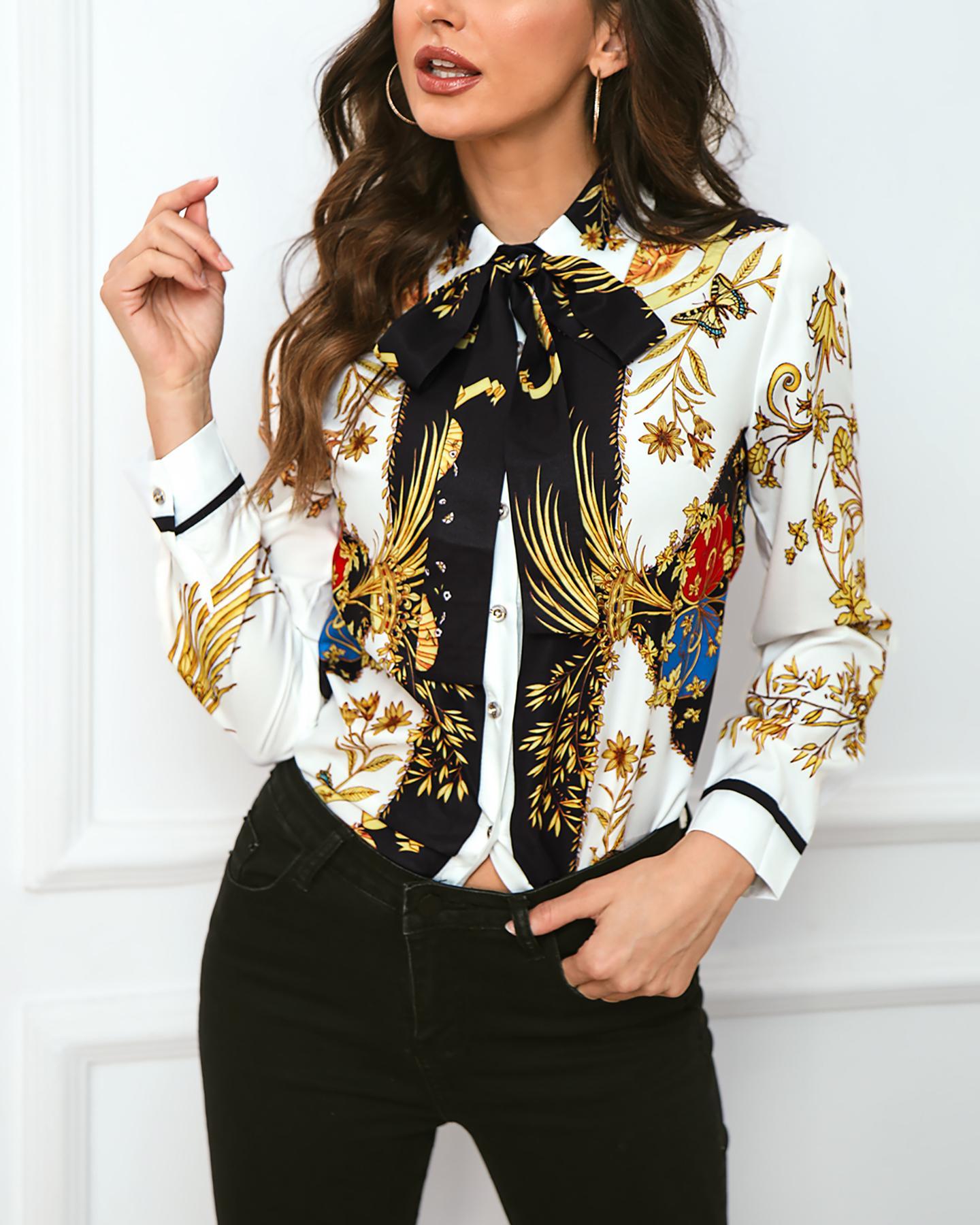 boutiquefeel / Camisa casual estampada con diseño de bowknot
