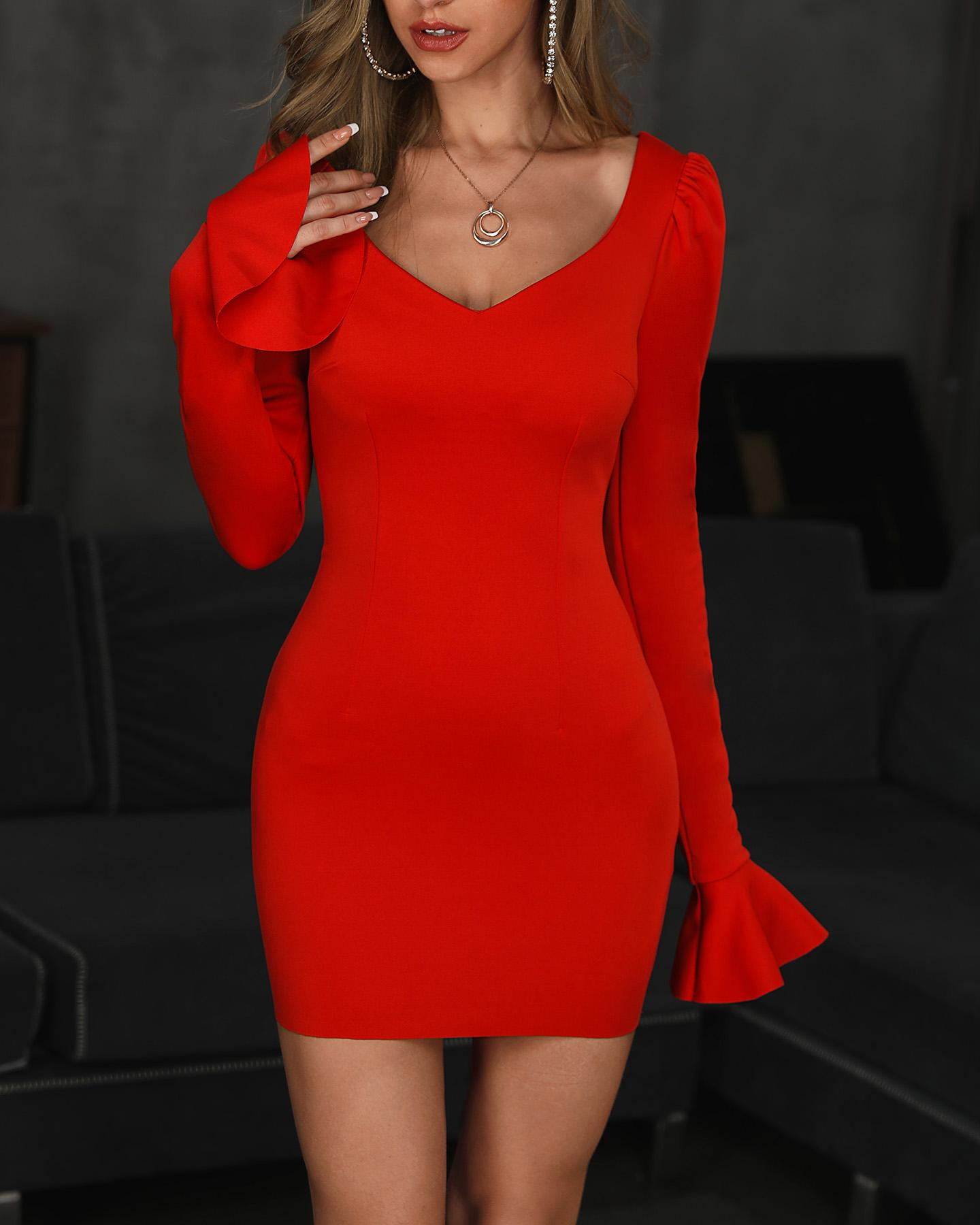 Puffed Sleeve Bell Cuff Bodycon Dress