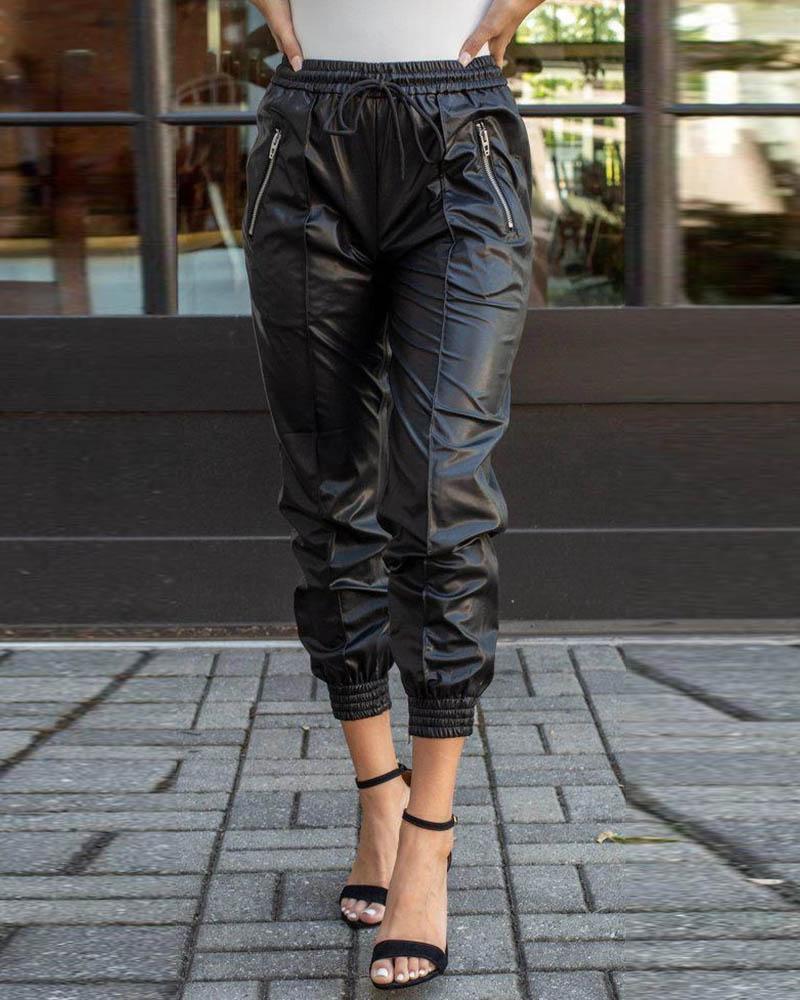 ivrose / Calças de couro PU com cintura alta franzida