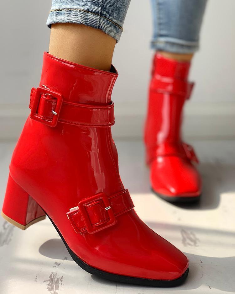 PU Buckle Design Chunky Heeled Boots
