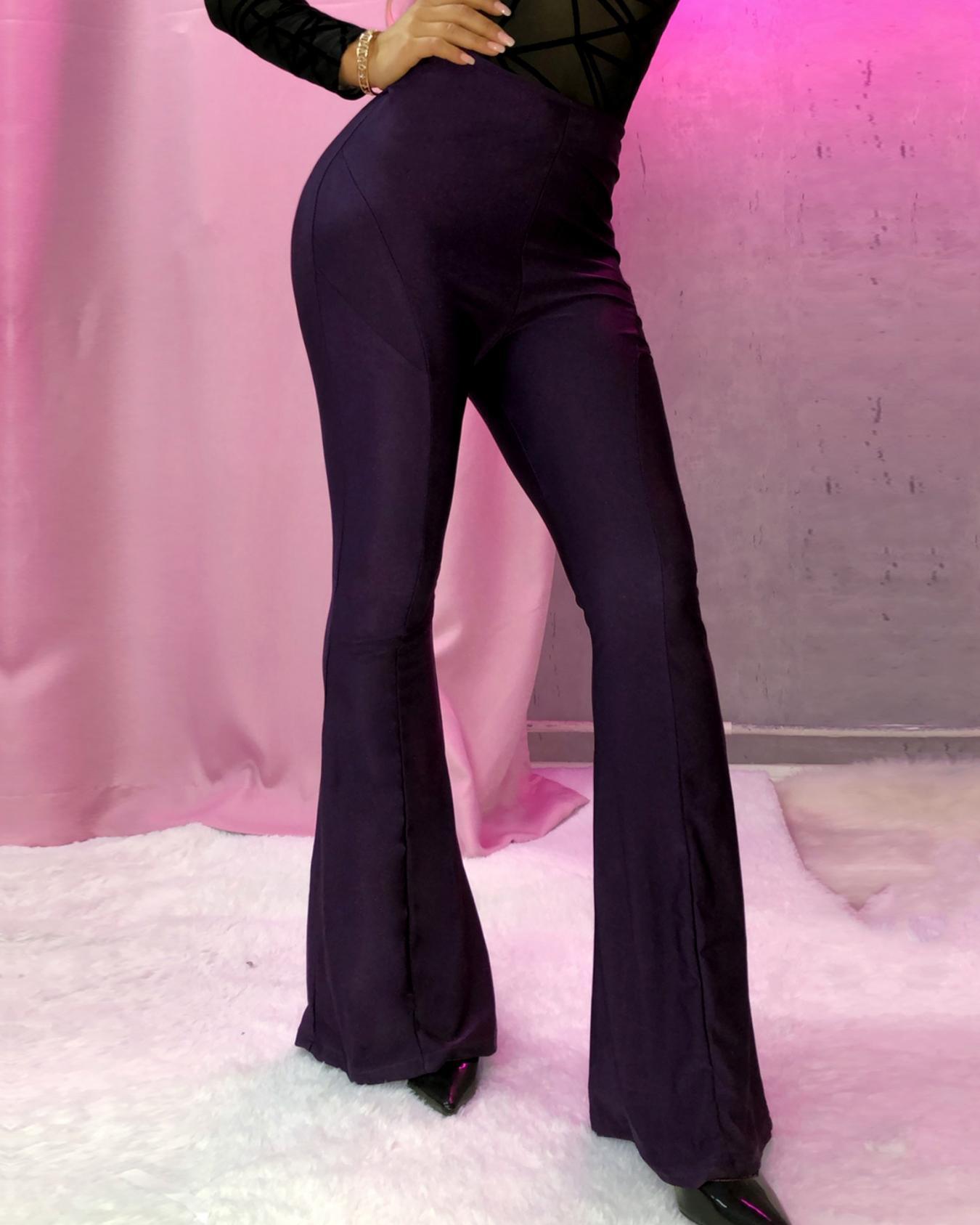 High Waist Solid Flared Pants фото